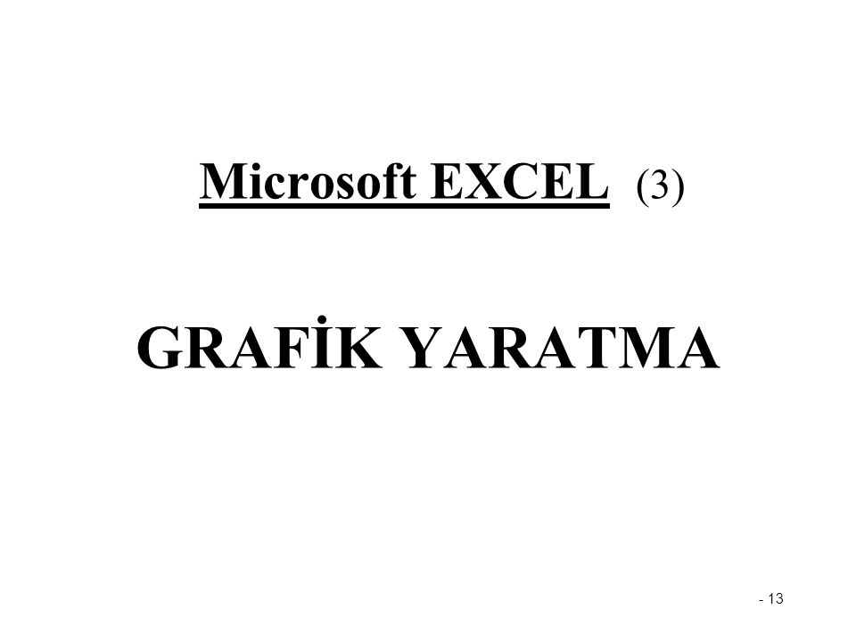 Microsoft EXCEL (3) GRAFİK YARATMA