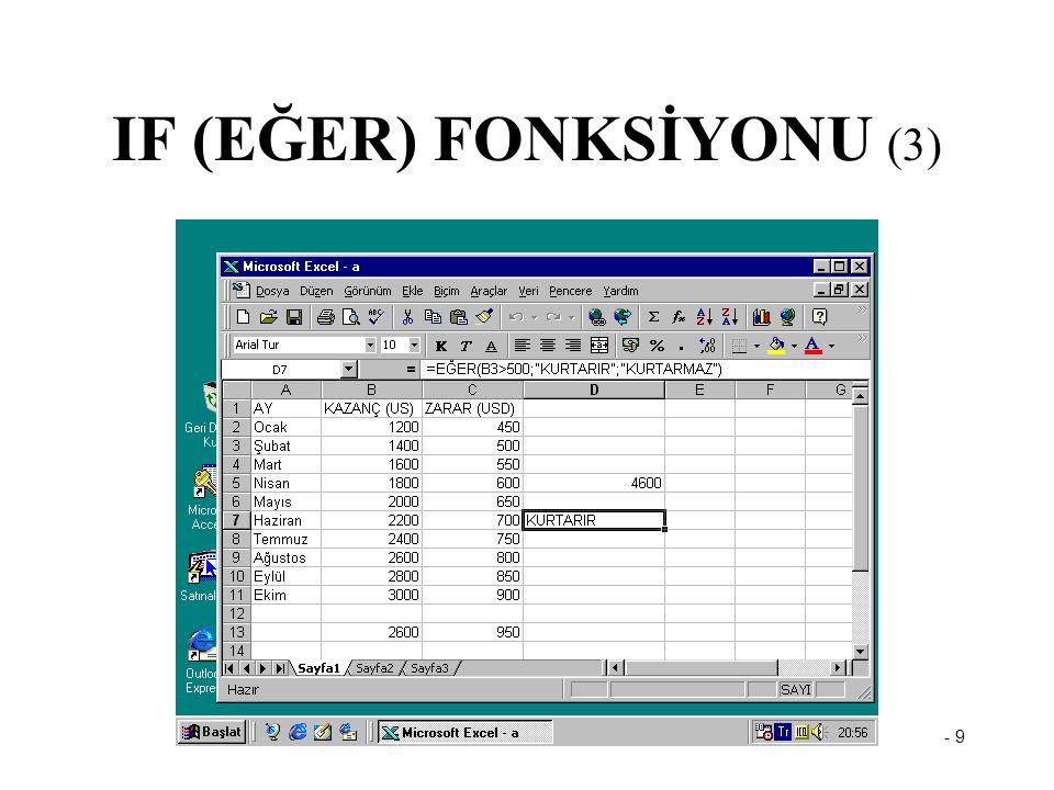 IF (EĞER) FONKSİYONU (3)