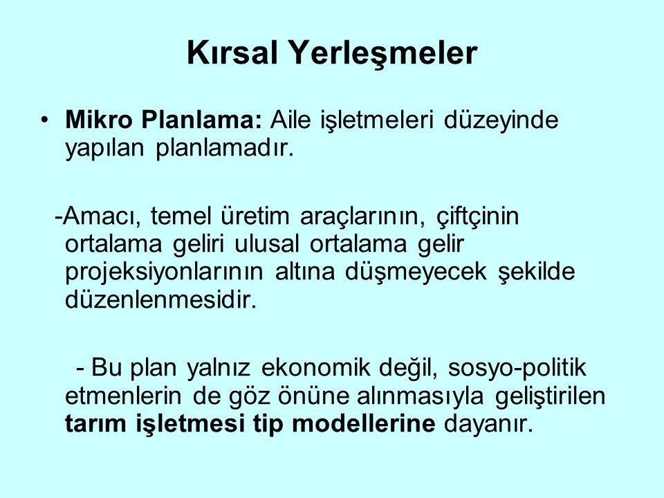 Kırsal Yerleşmeler Mikro Planlama: Aile işletmeleri düzeyinde yapılan planlamadır.