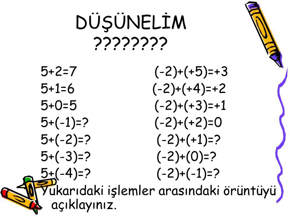 DÜŞÜNELİM 5+2=7 (-2)+(+5)=+3 5+1=6 (-2)+(+4)=+2