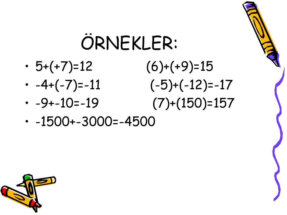 ÖRNEKLER: 5+(+7)=12 (6)+(+9)=15 -4+(-7)=-11 (-5)+(-12)=-17
