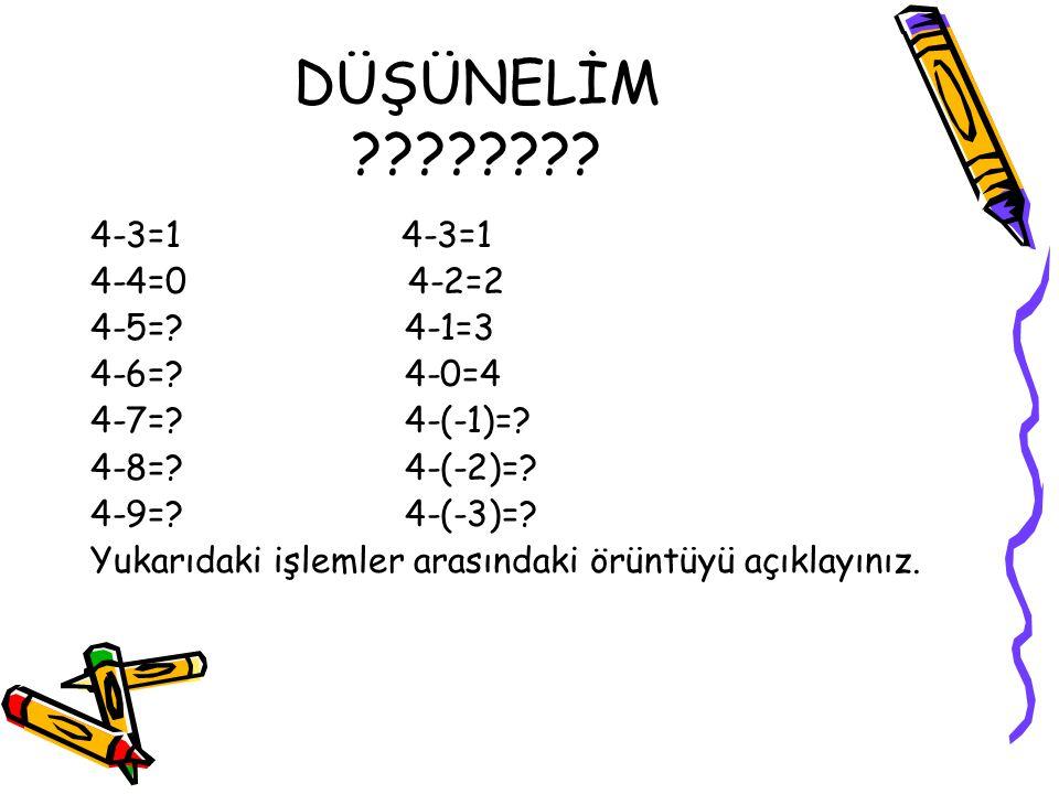 DÜŞÜNELİM 4-3=1 4-3=1 4-4=0 4-2=2 4-5= 4-1=3 4-6= 4-0=4