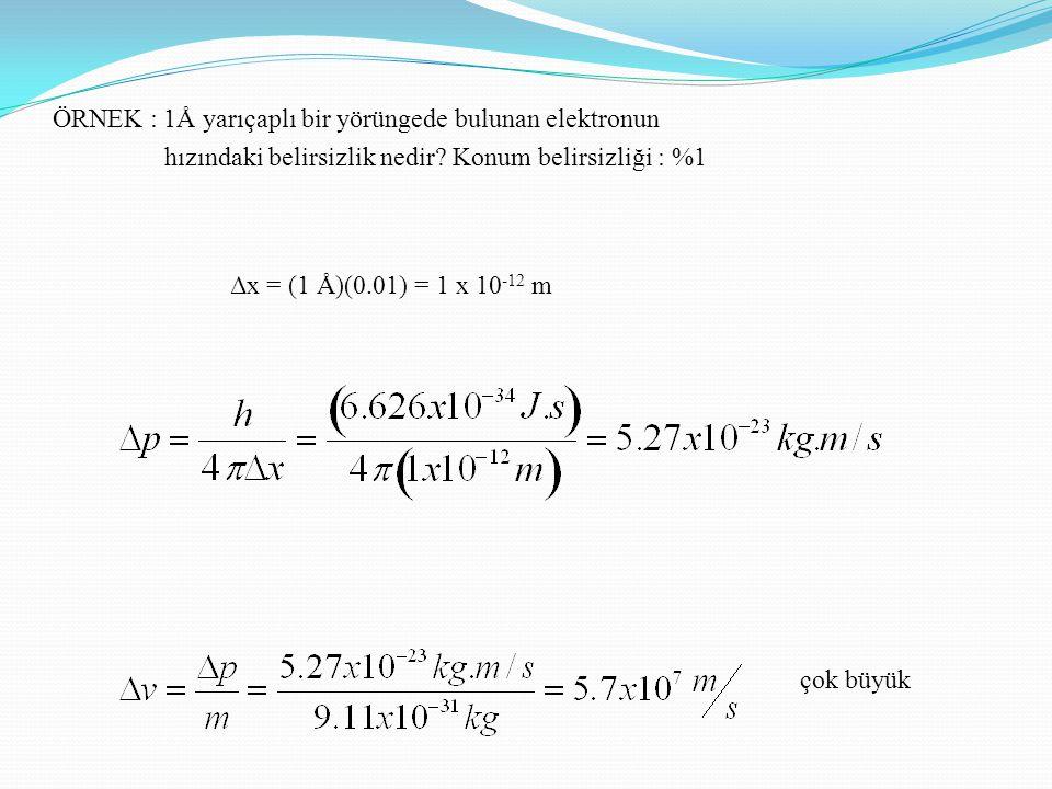 ÖRNEK : 1Å yarıçaplı bir yörüngede bulunan elektronun hızındaki belirsizlik nedir Konum belirsizliği : %1