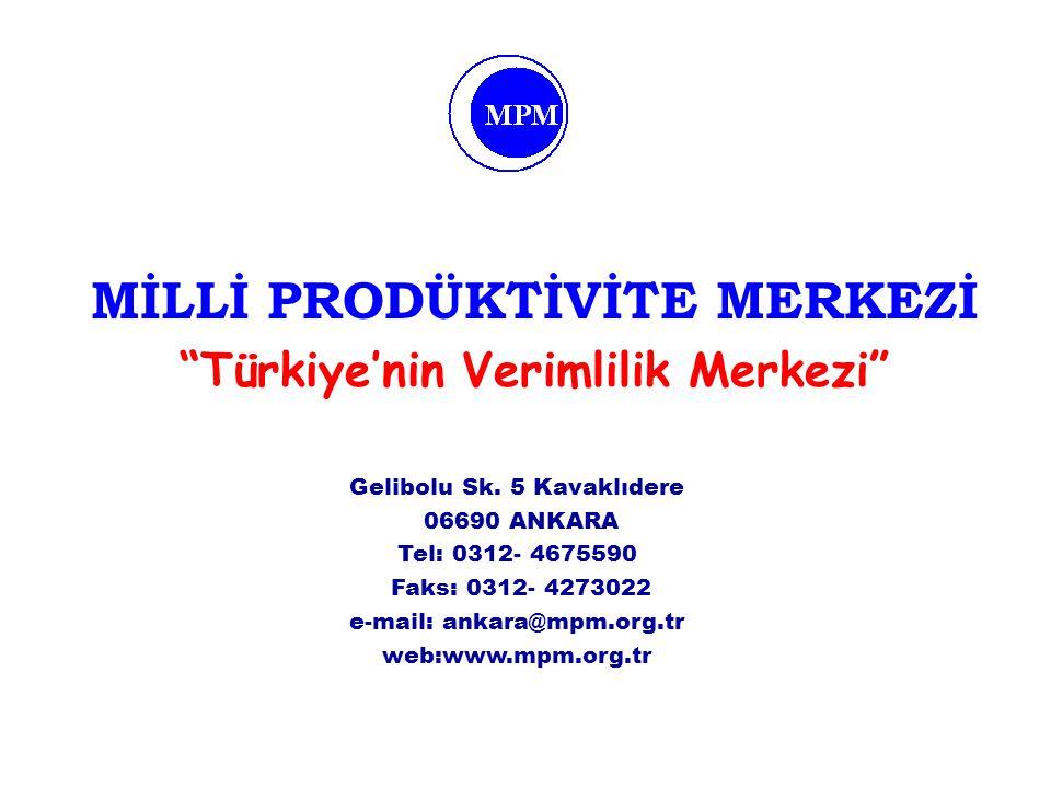 MİLLİ PRODÜKTİVİTE MERKEZİ Türkiye'nin Verimlilik Merkezi