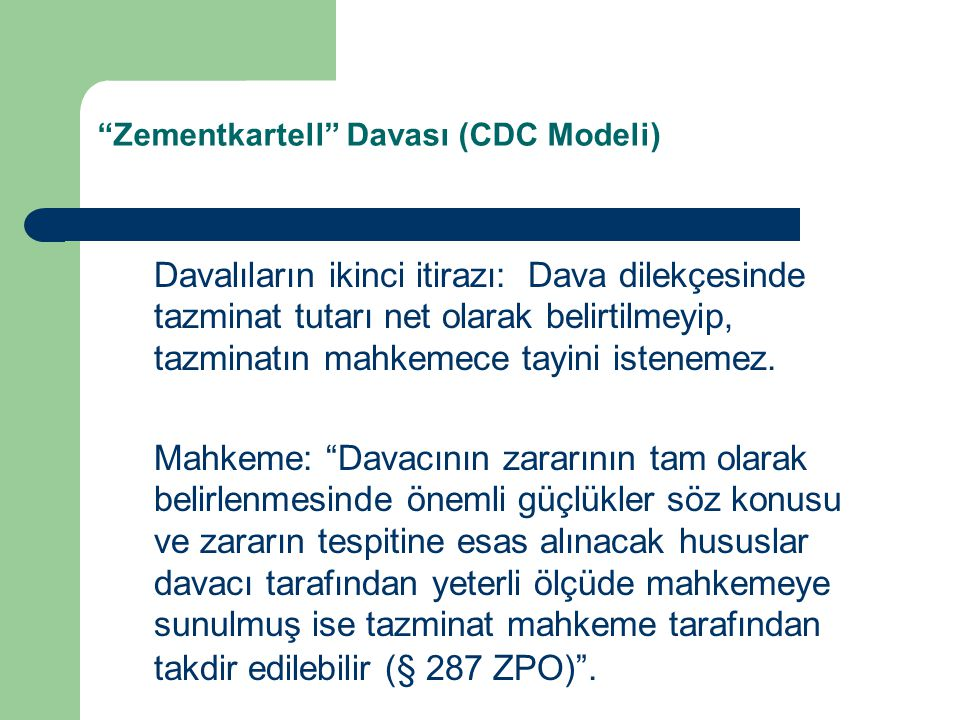 Zementkartell Davası (CDC Modeli)
