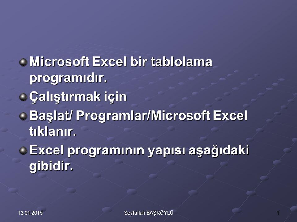 Microsoft Excel bir tablolama programıdır. Çalıştırmak için