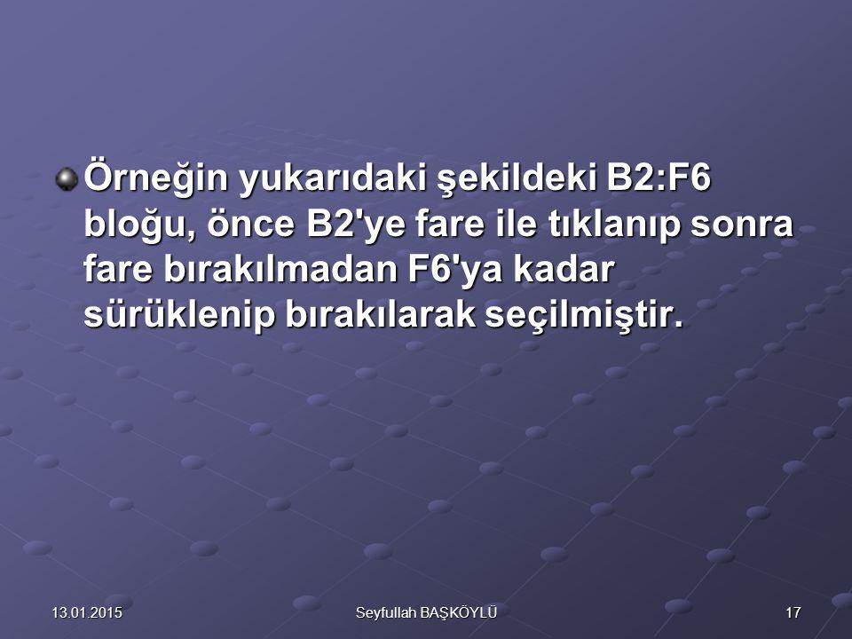 Örneğin yukarıdaki şekildeki B2:F6 bloğu, önce B2 ye fare ile tıklanıp sonra fare bırakılmadan F6 ya kadar sürüklenip bırakılarak seçilmiştir.