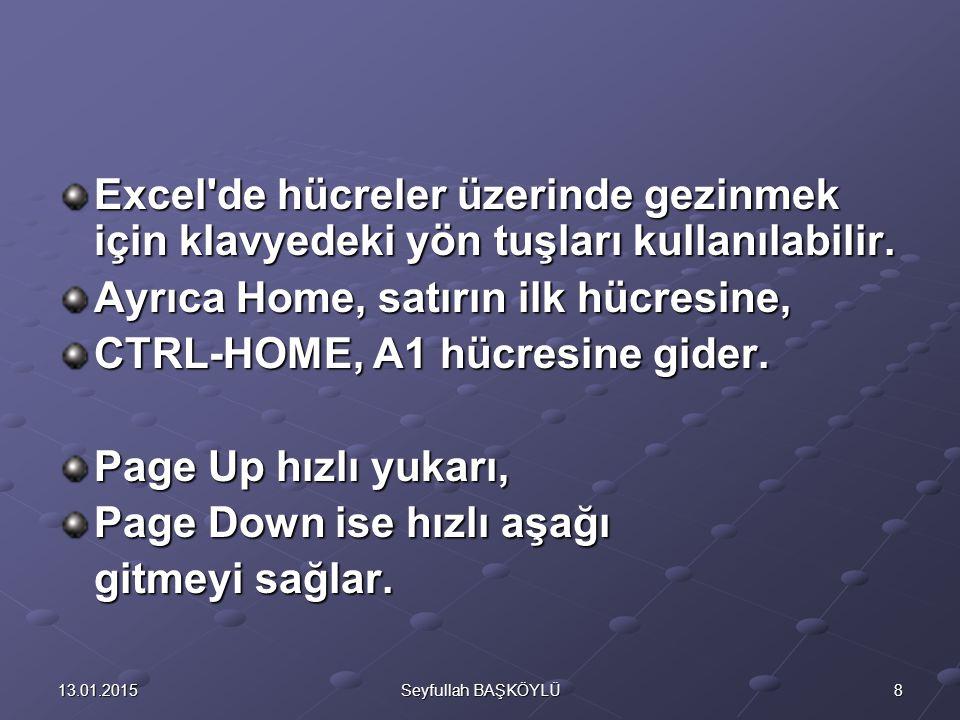 Ayrıca Home, satırın ilk hücresine, CTRL-HOME, A1 hücresine gider.