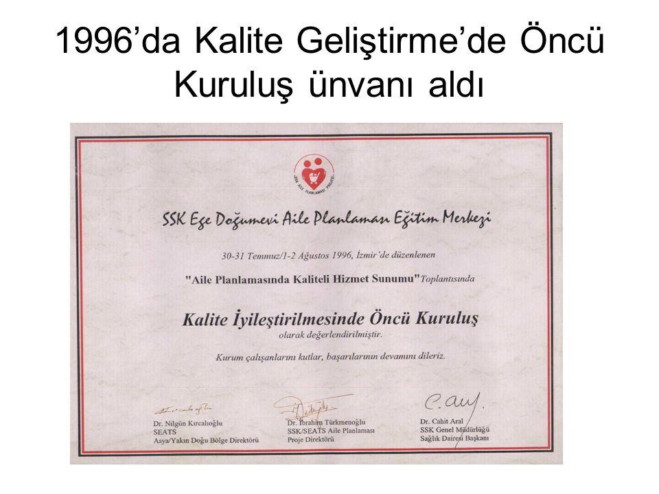 1996'da Kalite Geliştirme'de Öncü Kuruluş ünvanı aldı