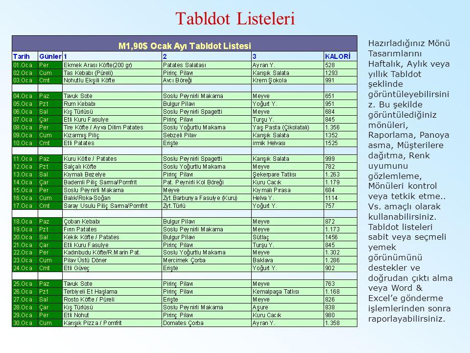Tabldot Listeleri