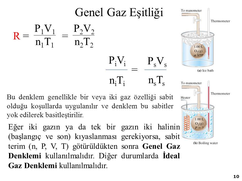 Genel Gaz Eşitliği R = = P2V2 n2T2 P1V1 n1T1 = PsVs nsTs PiVi niTi