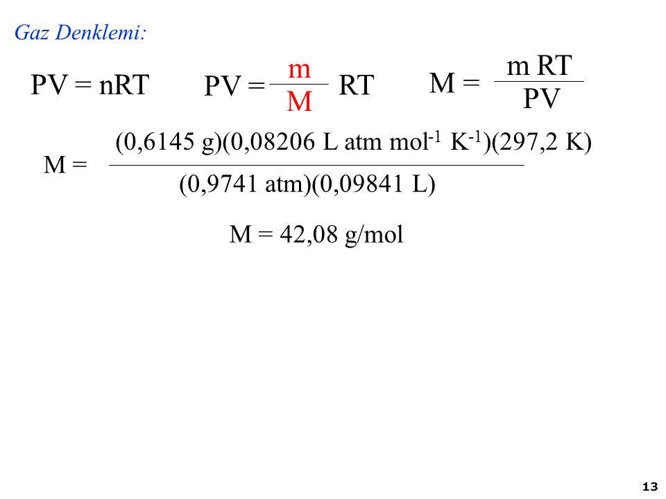 PV = m M RT M = m PV RT PV = nRT