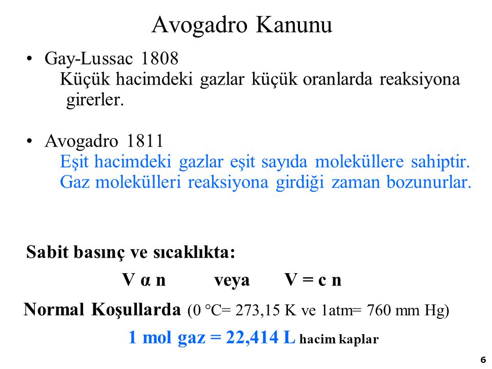 Avogadro Kanunu Gay-Lussac 1808