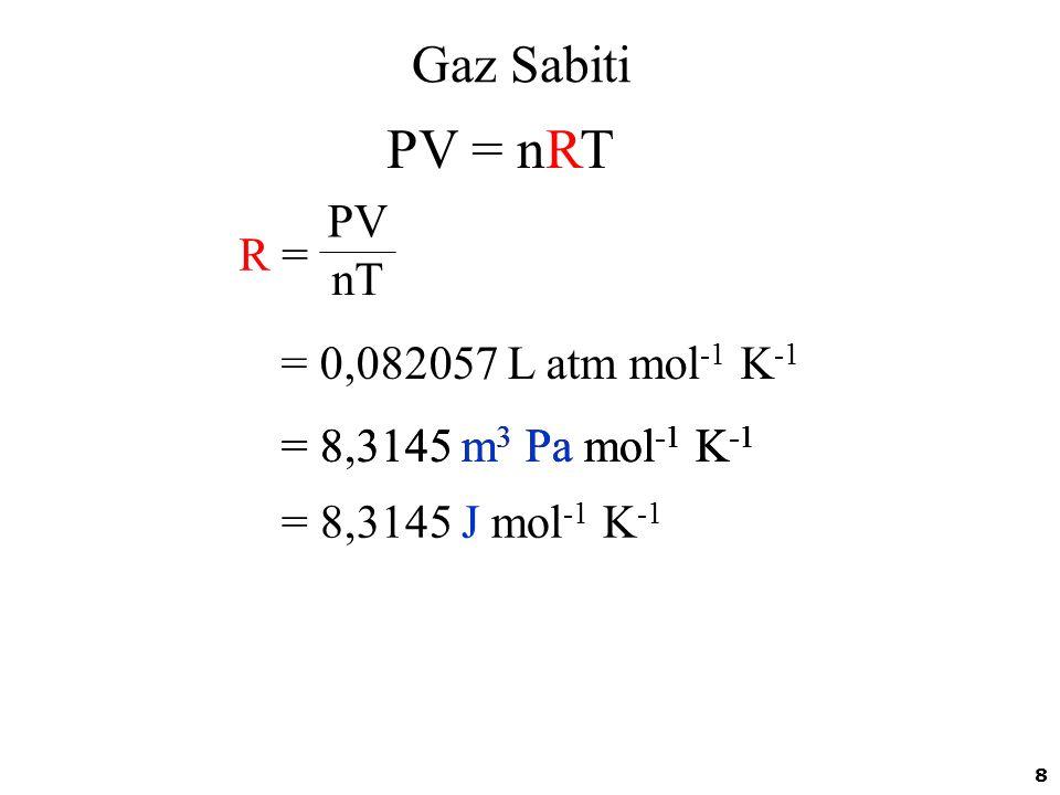PV = nRT Gaz Sabiti PV R = nT = 0,082057 L atm mol-1 K-1