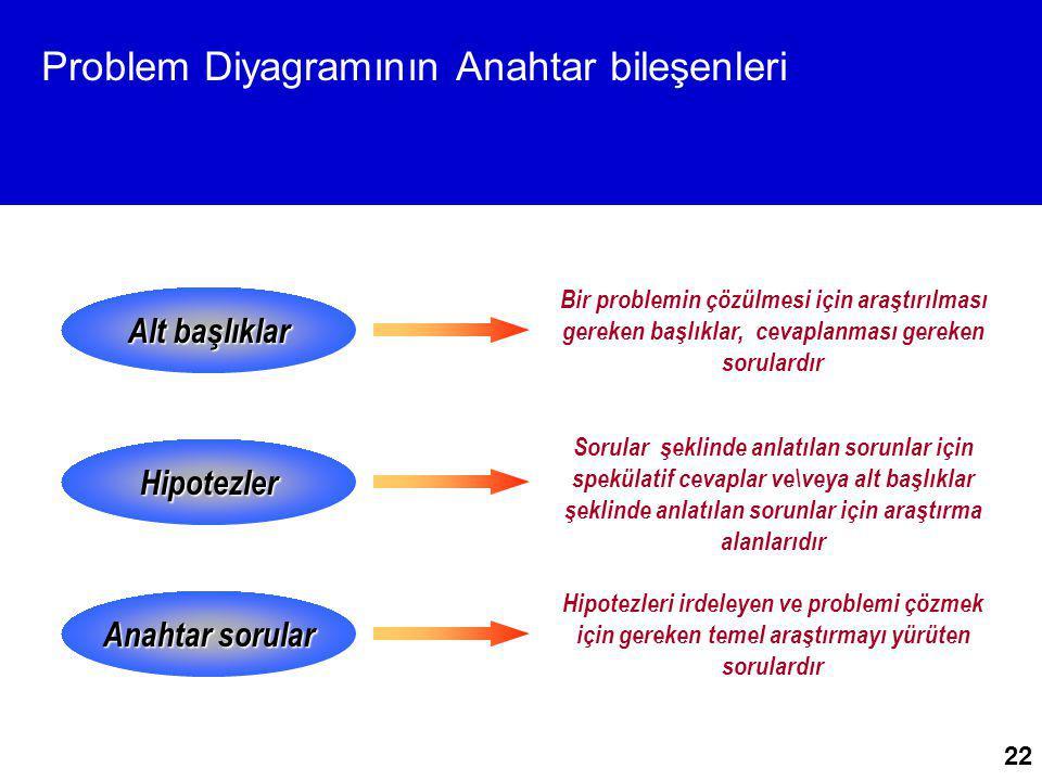 Problem Diyagramının Anahtar bileşenleri