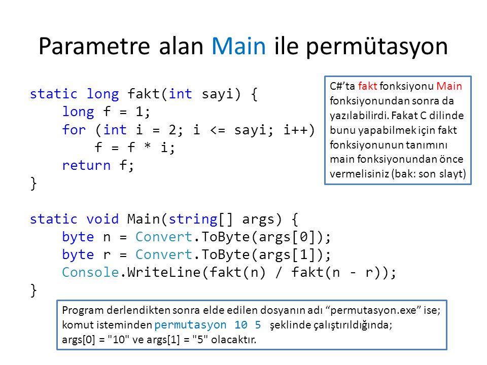 Parametre alan Main ile permütasyon