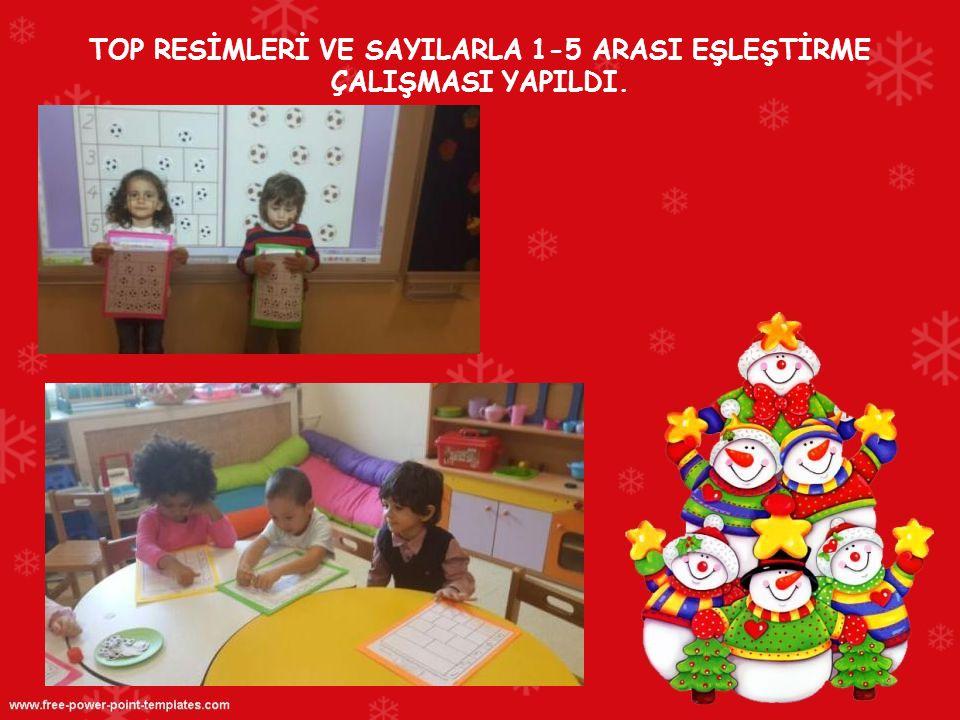 TOP RESİMLERİ VE SAYILARLA 1-5 ARASI EŞLEŞTİRME ÇALIŞMASI YAPILDI.