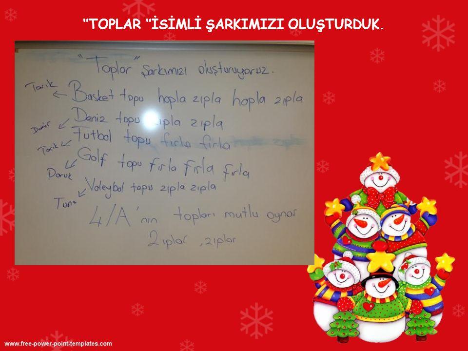 ''TOPLAR ''İSİMLİ ŞARKIMIZI OLUŞTURDUK.