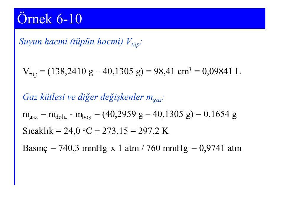 Örnek 6-10 Suyun hacmi (tüpün hacmi) Vtüp: