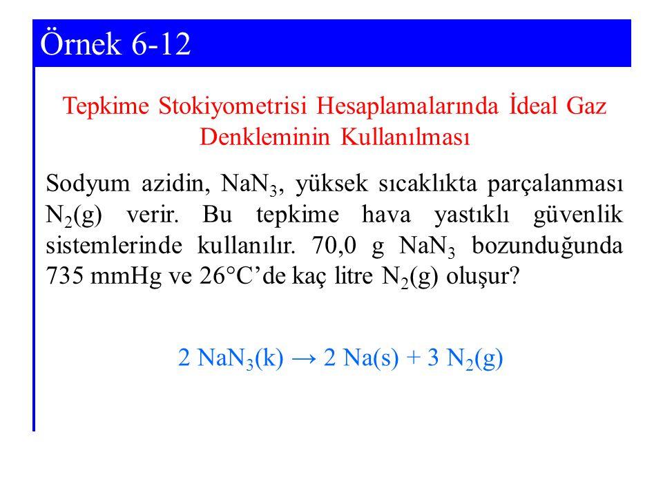 Örnek 6-12 Tepkime Stokiyometrisi Hesaplamalarında İdeal Gaz Denkleminin Kullanılması.