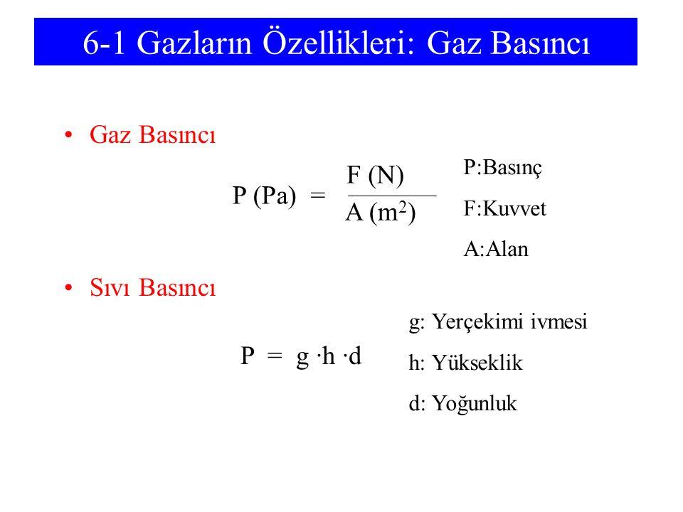 6-1 Gazların Özellikleri: Gaz Basıncı