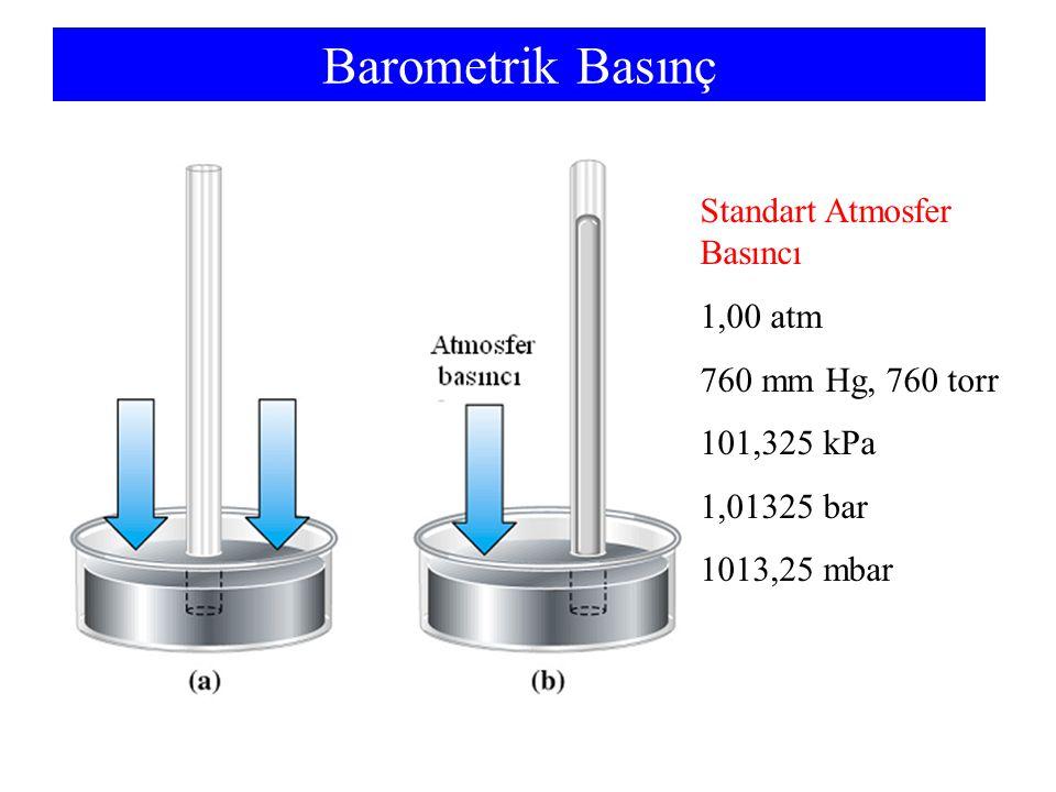 Barometrik Basınç Standart Atmosfer Basıncı 1,00 atm