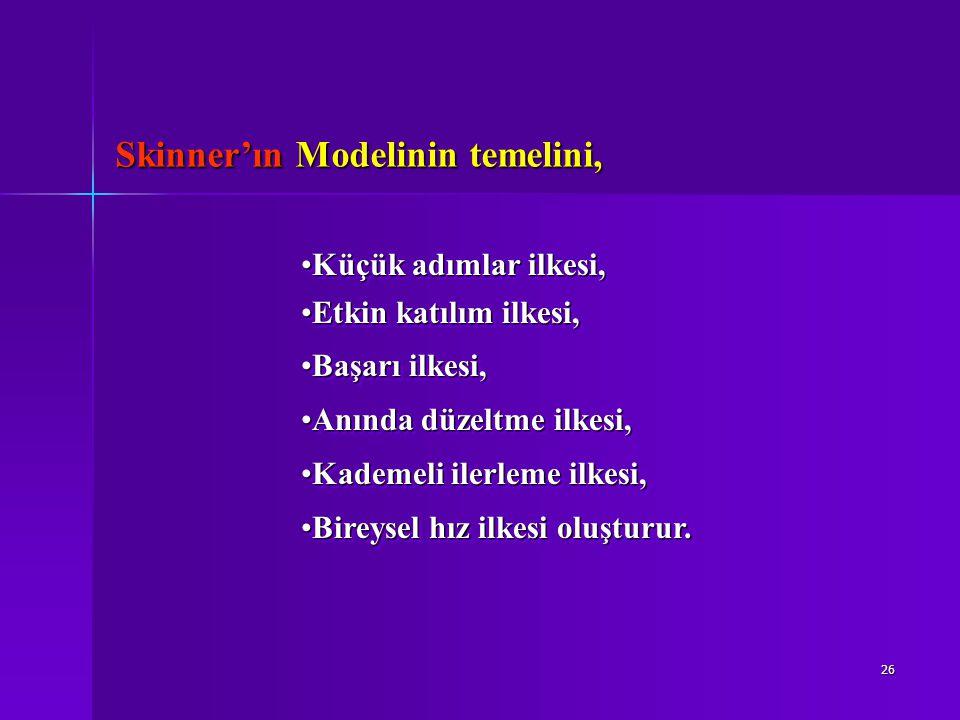 Skinner'ın Modelinin temelini,
