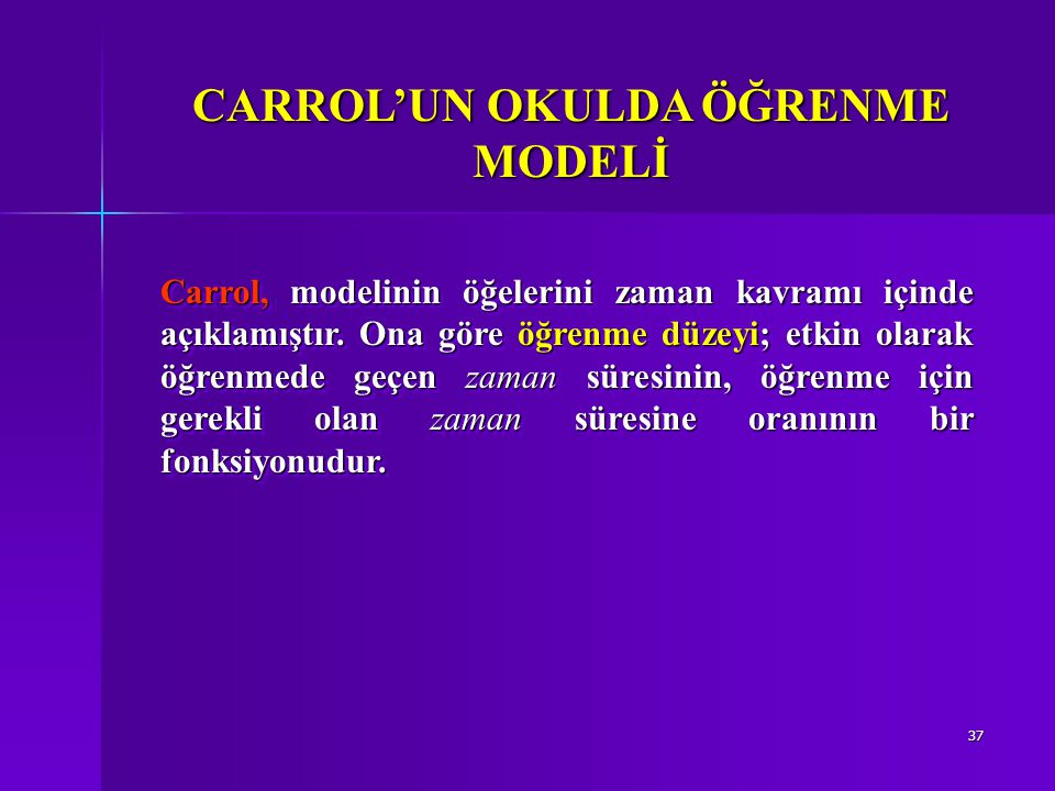 CARROL'UN OKULDA ÖĞRENME MODELİ