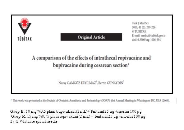 Grup B: 10 mg %0.5 plain bupivakain (2 mL)+ fentanil 25 µg +morfin 100 µg