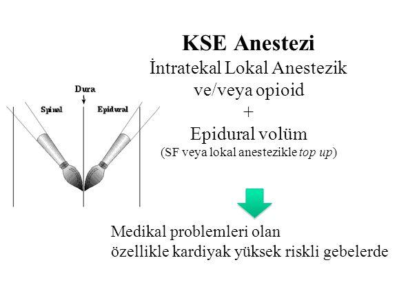 KSE Anestezi İntratekal Lokal Anestezik ve/veya opioid + Epidural volüm (SF veya lokal anestezikle top up)