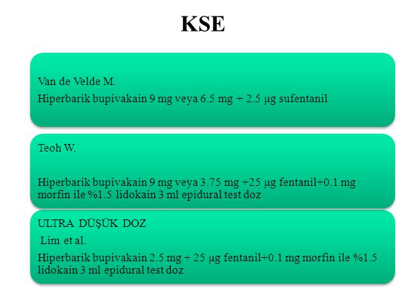 KSE ULTRA DÜŞÜK DOZ. Lim et al. Hiperbarik bupivakain 2.5 mg + 25 μg fentanil+0.1 mg morfin ile %1.5 lidokain 3 ml epidural test doz.