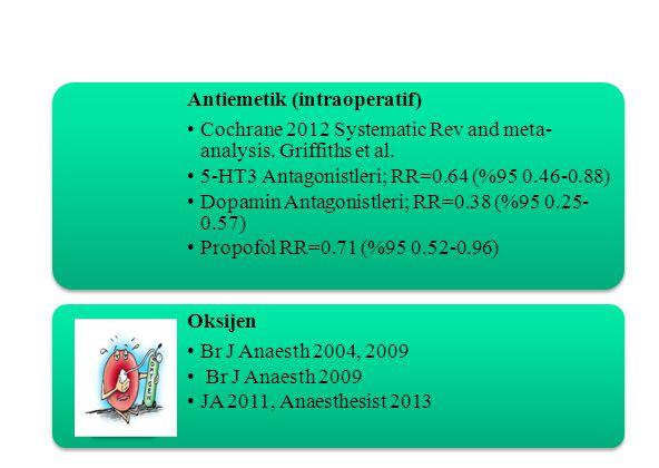 Oksijen Br J Anaesth 2004, 2009. Br J Anaesth 2009. JA 2011, Anaesthesist 2013. Antiemetik (intraoperatif)