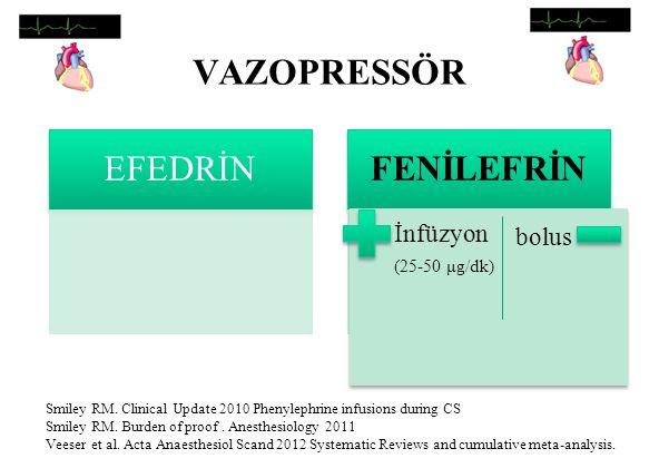 VAZOPRESSÖR EFEDRİN FENİLEFRİN İnfüzyon bolus (25-50 μg/dk)