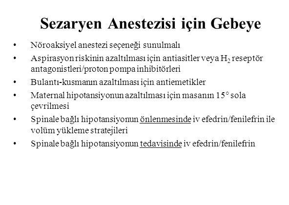 Sezaryen Anestezisi için Gebeye
