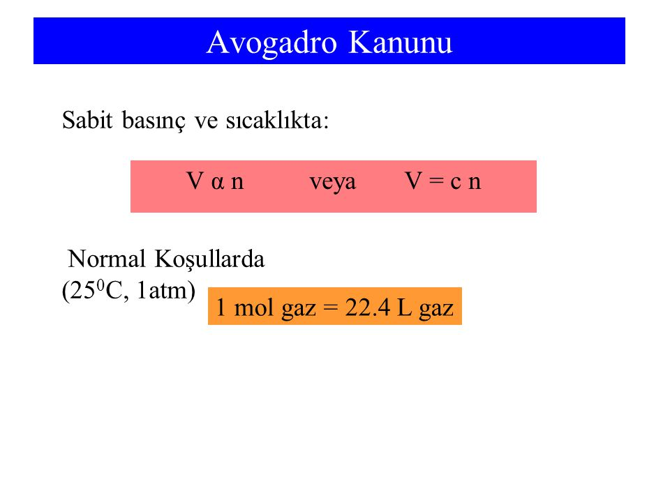 Avogadro Kanunu Sabit basınç ve sıcaklıkta: V α n veya V = c n
