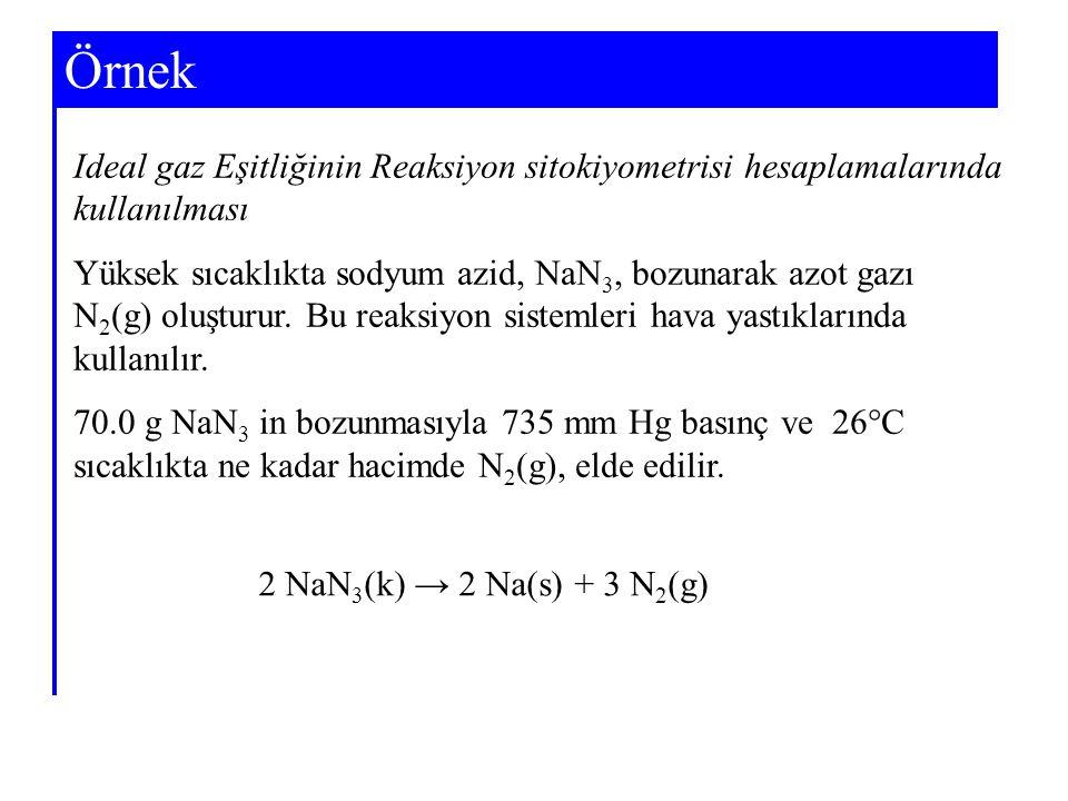 Örnek Ideal gaz Eşitliğinin Reaksiyon sitokiyometrisi hesaplamalarında kullanılması.
