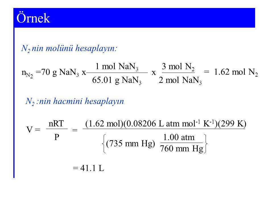 Örnek N2 nin molünü hesaplayın: 1 mol NaN3 3 mol N2 nN2 =70 g NaN3 x x