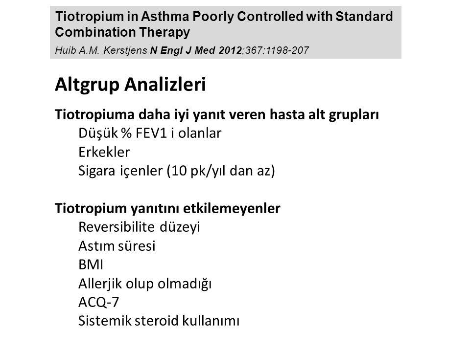 Altgrup Analizleri Tiotropiuma daha iyi yanıt veren hasta alt grupları