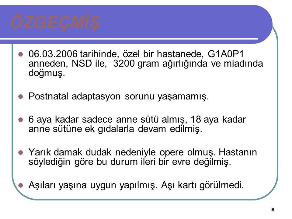 ÖZGEÇMİŞ 06.03.2006 tarihinde, özel bir hastanede, G1A0P1 anneden, NSD ile, 3200 gram ağırlığında ve miadında doğmuş.