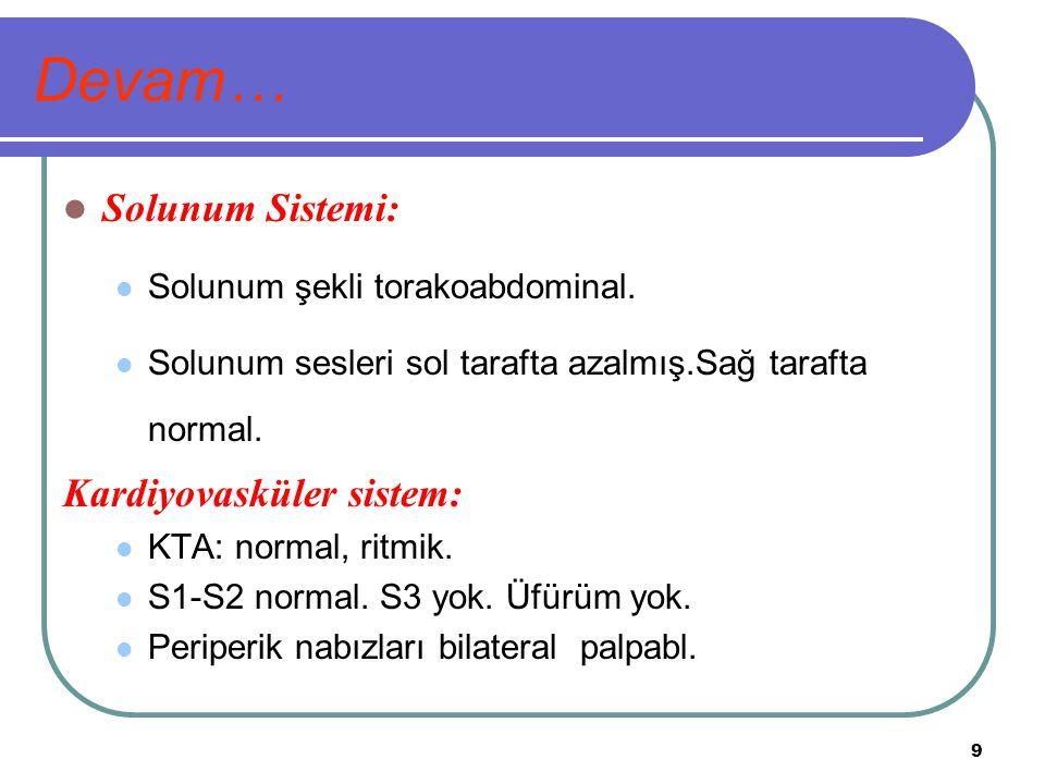 Devam… Solunum Sistemi: Kardiyovasküler sistem: