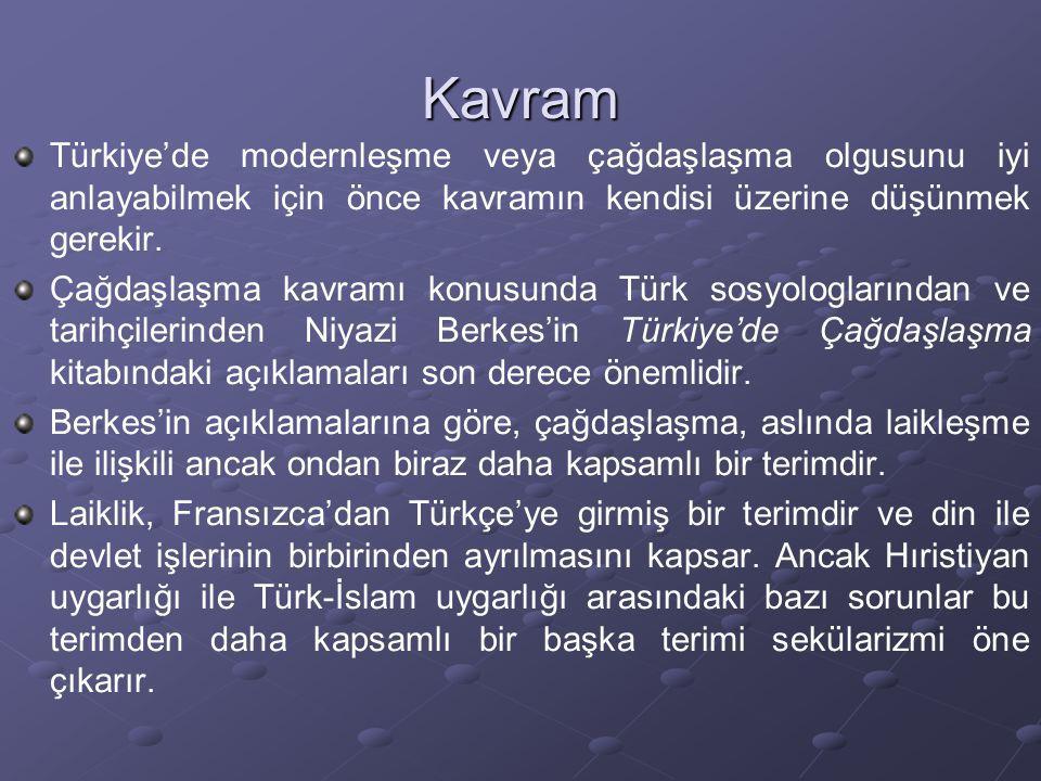 Kavram Türkiye'de modernleşme veya çağdaşlaşma olgusunu iyi anlayabilmek için önce kavramın kendisi üzerine düşünmek gerekir.