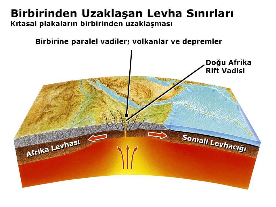 Birbirine paralel vadiler; volkanlar ve depremler