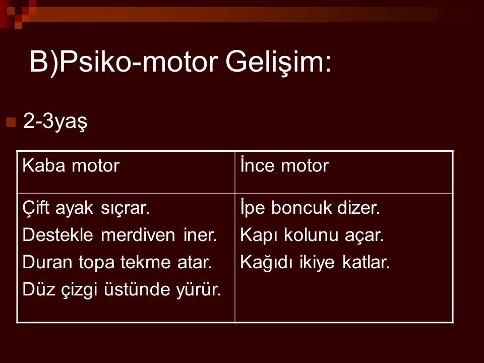 B)Psiko-motor Gelişim: