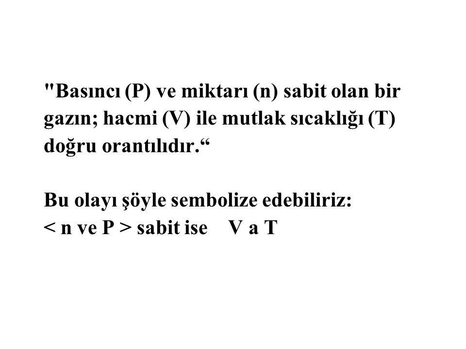 Basıncı (P) ve miktarı (n) sabit olan bir