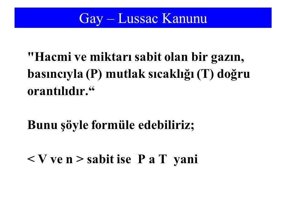 Gay – Lussac Kanunu Hacmi ve miktarı sabit olan bir gazın,