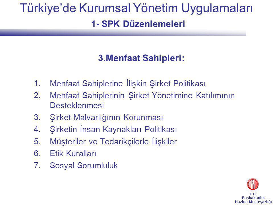 Türkiye'de Kurumsal Yönetim Uygulamaları 1- SPK Düzenlemeleri