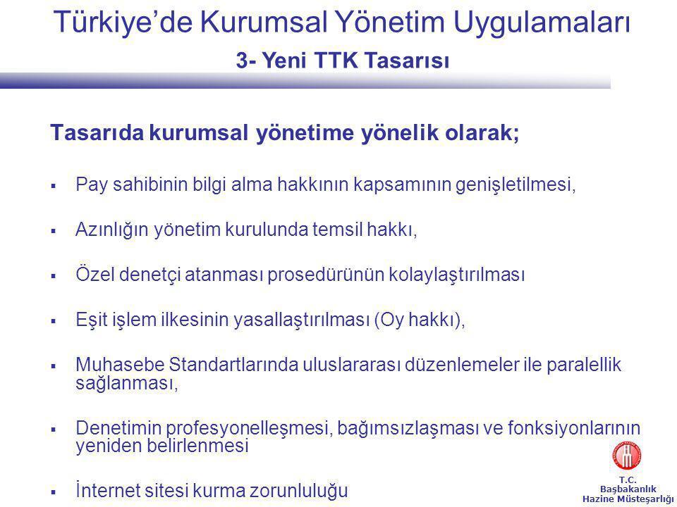 Türkiye'de Kurumsal Yönetim Uygulamaları 3- Yeni TTK Tasarısı