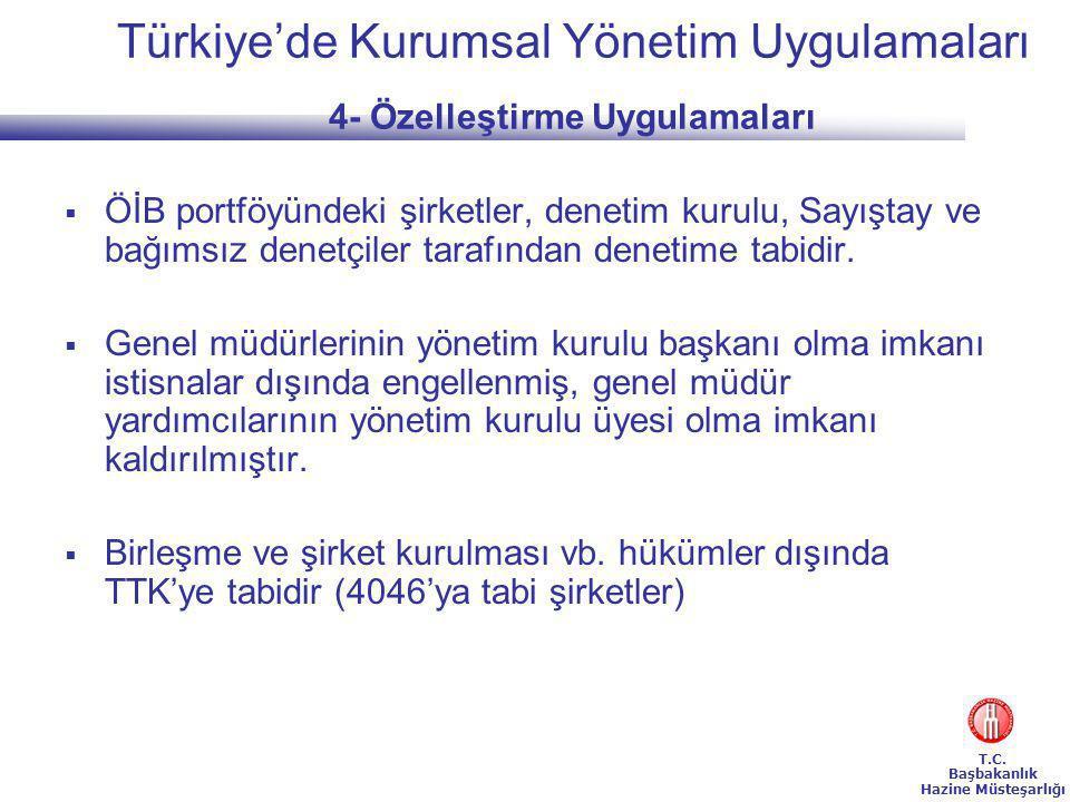 Türkiye'de Kurumsal Yönetim Uygulamaları 4- Özelleştirme Uygulamaları