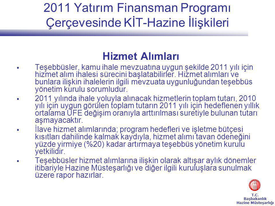 2011 Yatırım Finansman Programı Çerçevesinde KİT-Hazine İlişkileri
