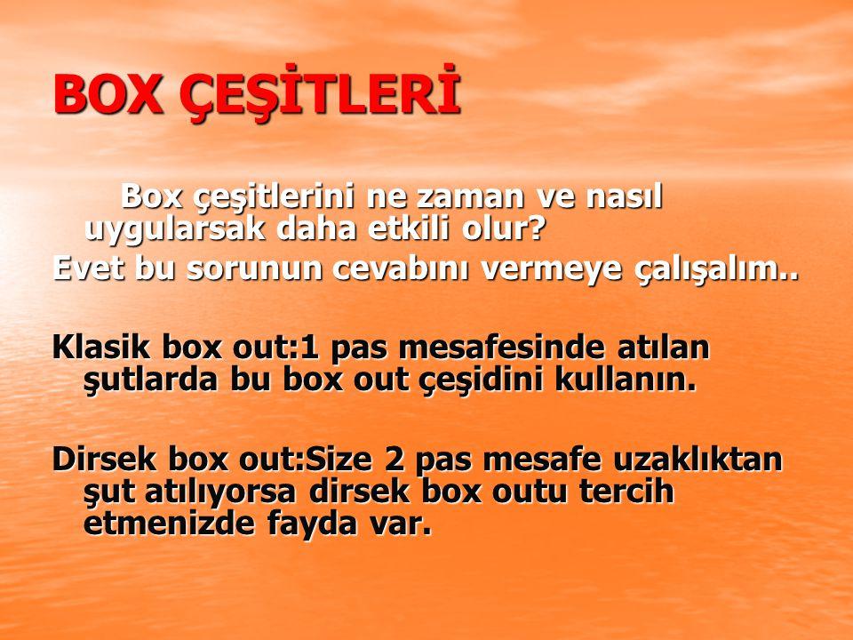 BOX ÇEŞİTLERİ Box çeşitlerini ne zaman ve nasıl uygularsak daha etkili olur Evet bu sorunun cevabını vermeye çalışalım..
